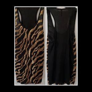 Tops - Gold Sequin Tiger Print Tank Top Size L